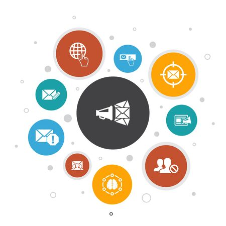 Email Marketing Infographic 10 steps bubble design. subscribe, compose mail, Blacklist, internet icons 스톡 콘텐츠 - 130895514