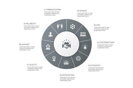 customer relationship Infographic 10 steps circle design. communication, service, CRM, customer care simple icons Illusztráció