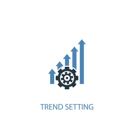 trend setting concept 2 colored icon. Simple blue element illustration. trend setting concept symbol design. Can be used for web and mobile