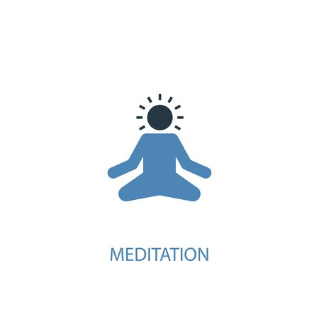 meditation concept 2 colored icon. Simple blue element illustration. meditation concept symbol design. Can be used for web and mobile