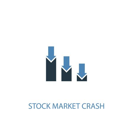 stock market crash concept 2 colored icon. Simple blue element illustration. stock market crash concept symbol design. Can be used for web and mobile