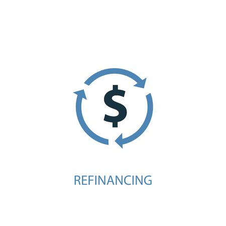 Refinancing concept 2 colored icon. Simple blue element illustration. Refinancing concept symbol design. Can be used for web and mobile