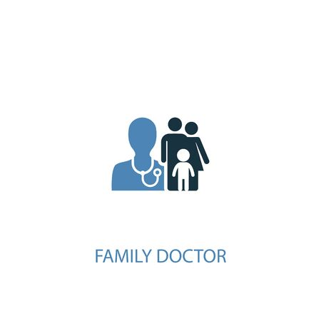 family doctor concept 2 colored icon. Simple blue element illustration. family doctor concept symbol design. Can be used for web and mobile
