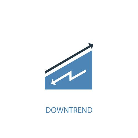 downtrend concept 2 colored icon. Simple blue element illustration. downtrend concept symbol design. Can be used for web and mobile  イラスト・ベクター素材