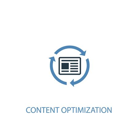 Content Optimization concept 2 colored icon. Simple blue element illustration. Content Optimization concept symbol design. Can be used for web and mobile Foto de archivo - 130895593