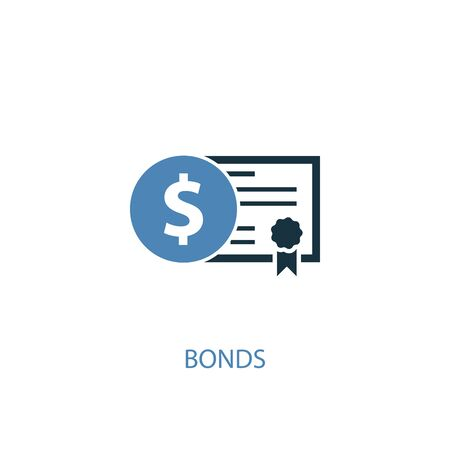 Bonds concept 2 colored icon. Simple blue element illustration. Bonds concept symbol design. Can be used for web and mobile