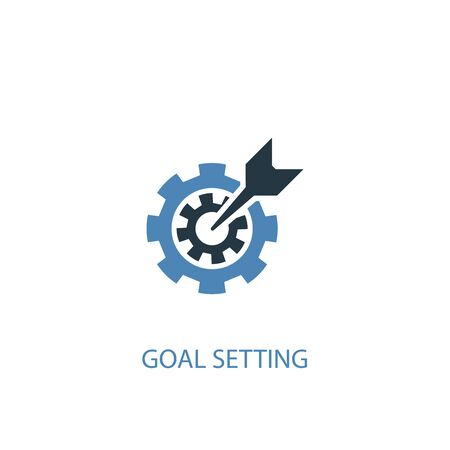 goal setting concept 2 colored icon. Simple blue element illustration. goal setting concept symbol design. Can be used for web and mobile