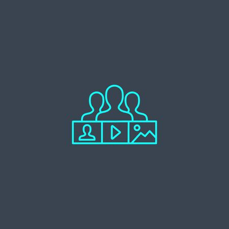 social content concept blue line icon. Simple thin element on dark background. social content concept outline symbol design. Can be used for web and mobile Ilustração