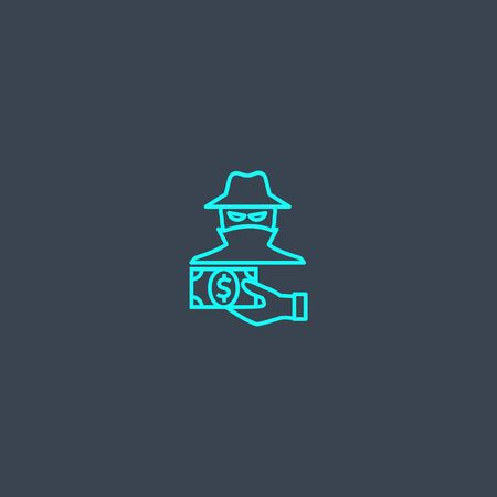 fraud concept blue line icon. Simple thin element on dark background. fraud concept outline symbol design. Can be used for web and mobile