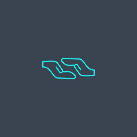 Assistance concept blue line icon. Simple thin element on dark background. Assistance concept outline symbol design. Can be used for web and mobile Foto de archivo - 130895689