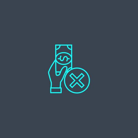declined payment concept blue line icon. Simple thin element on dark background. declined payment concept outline symbol design. Can be used for web and mobile Illustration