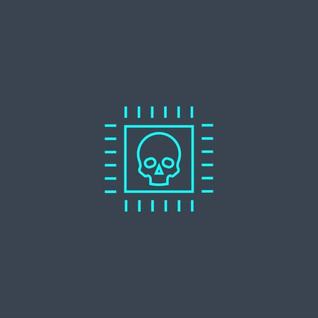 cyber crime concept blue line icon. Simple thin element on dark background. cyber crime concept outline symbol design. Can be used for web and mobile