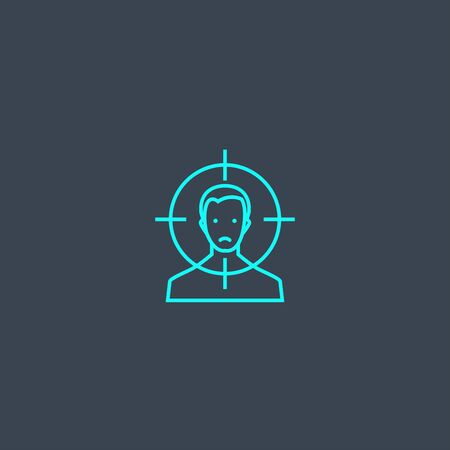 victim concept blue line icon. Simple thin element on dark background. victim concept outline symbol design. Can be used for web and mobile 向量圖像