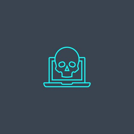 scam concept blue line icon. Simple thin element on dark background. scam concept outline symbol design. Can be used for web and mobile Ilustração