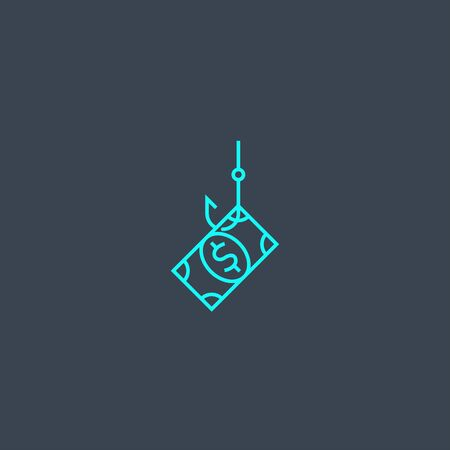 phishing concept blue line icon. Simple thin element on dark background. phishing concept outline symbol design. Can be used for web and mobile
