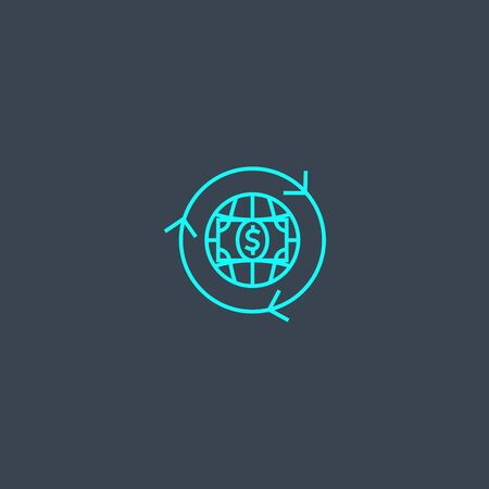 wire transfer concept blue line icon. Simple thin element on dark background. wire transfer concept outline symbol design. Can be used for web and mobile