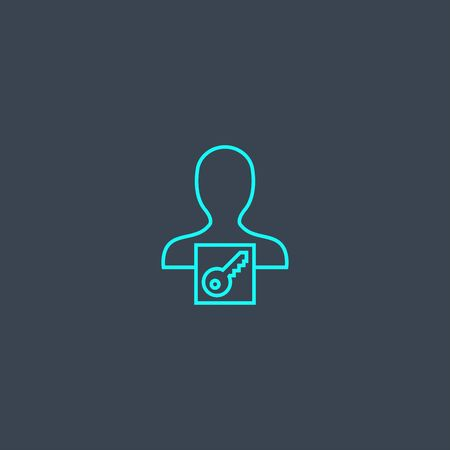 key owner concept blue line icon. Simple thin element on dark background. key owner concept outline symbol design. Can be used for web and mobile
