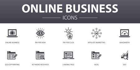 Online Business simple concept icons set. Contains such icons as pay per view, Bandwidth, landing page, SEO and more, can be used for web