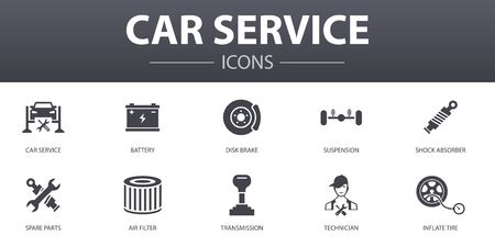Car service simple concept icons set. Contains such icons as disk brake, suspension, spare parts, Transmission and more, can be used for web Illustration