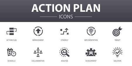 action plan simple concept icons set. Contains such icons as improvement, strategy, implementation, analysis and more, can be used for web Stock Illustratie