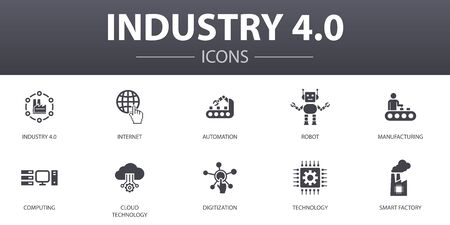 Industry 4.0 simple concept icons set. Contains such icons as internet, automation, manufacturing, computing and more, can be used for web Vettoriali