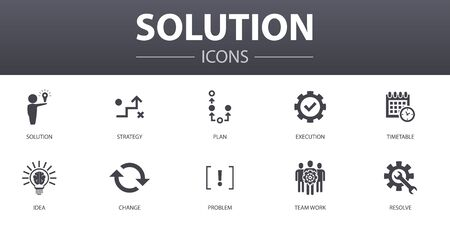 Solution simple concept icons set. Contains such icons as strategy, plan, execution, timetable and more, can be used for web