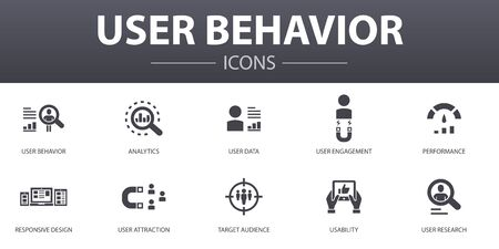 User behavior simple concept icons set. Contains such icons as Analytics, user data, Performance, Usability and more, can be used for web