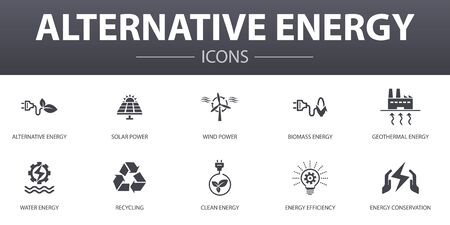 Alternative energy simple concept icons set. Contains such icons as Solar Power, Wind Power, Geothermal Energy, Recycling and more, can be used for web Stock Illustratie