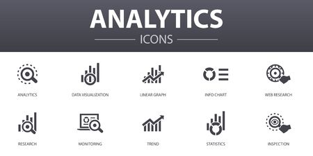 analytics simple concept icons set. Contains such icons as linear graph, web research, trend, monitoring and more, can be used for web