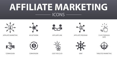 affiliate marketing simple concept icons set. Contains such icons as Affiliate Link, Commission, Conversion, Cost per Click and more, can be used for web