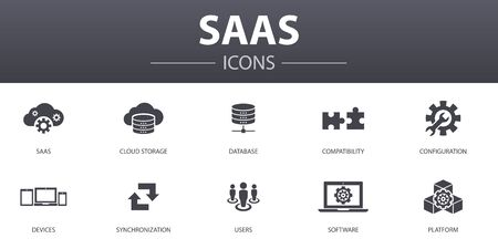 SaaS simple concept icons set. Contains such icons as cloud storage, configuration, software, database and more, can be used for web
