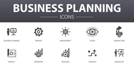 Business planning simple concept icons set. Contains such icons as management, project, research, strategy and more, can be used for web Ilustracja