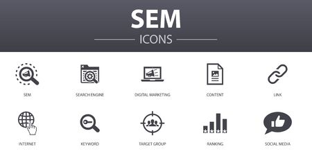 SEM simple concept icons set. Contains such icons as Search engine, Digital marketing, Content, Internet and more, can be used for web