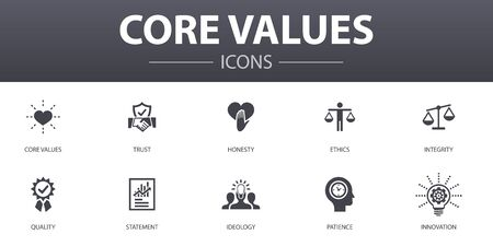 Core values simple concept icons set. Contains such icons as trust, honesty, ethics, integrity and more, can be used for web