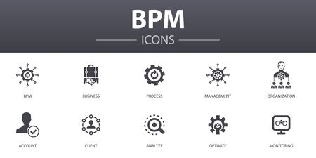 BPM simple concept icons set. Contains such icons as business, process, management, organization and more, can be used for web Illustration