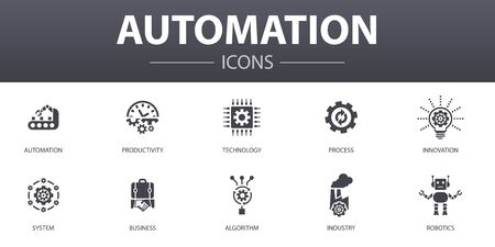 Automation simple concept icons set. Contains such icons as productivity, technology, process, algorithm and more, can be used for web Illustration