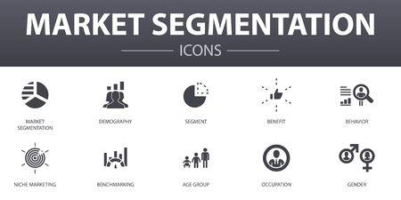 Conjunto de iconos de concepto simple de segmentación de mercado. Contiene íconos como demografía, segmento, evaluación comparativa, grupo de edad y más, se puede utilizar para la web