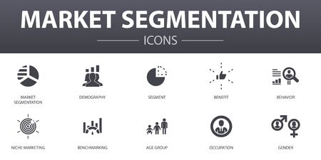 market segmentation simple concept icons set. Contains such icons as demography, segment, Benchmarking, Age group and more, can be used for web