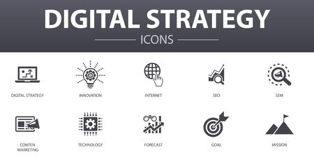 digital strategy simple concept icons set. Contains such icons as internet, SEO, content marketing, mission and more, can be used for web Stock Vector - 130896216