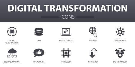 Ensemble d'icônes de concept simple de transformation numérique. Contient des icônes telles que les services numériques, Internet, le cloud computing, la technologie et plus encore, peut être utilisé pour le Web