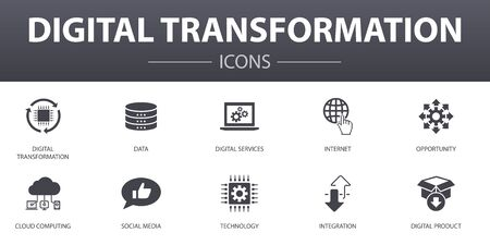 digital transformation simple concept icons set. Contains such icons as digital services, internet, cloud computing, technology and more, can be used for web