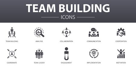 team building simple concept icons set. Contains such icons as collaboration, communication, cooperation, team leader and more, can be used for web