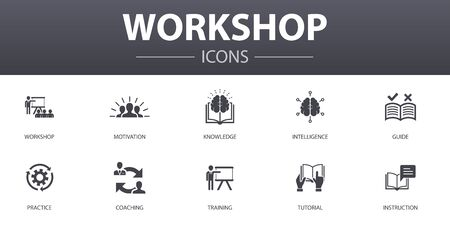 workshop simple concept icons set. Contains such icons as motivation, knowledge, intelligence, practice and more, can be used for web Çizim