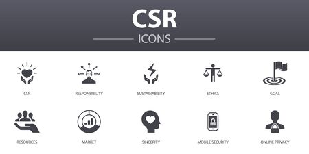 CSR simple concept icons set. Contains such icons as responsibility, sustainability, ethics, goal and more, can be used for web