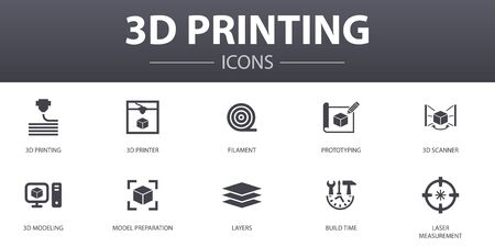 3d printing simple concept icons set. Contains such icons as 3d printer, filament, prototyping, model preparation and more, can be used for web 向量圖像