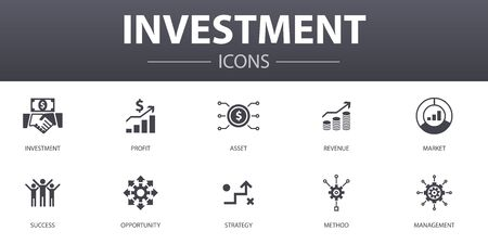 Investment simple concept icons set. Contains such icons as profit, asset, market, success and more, can be used for web Ilustração