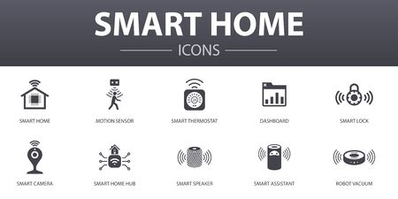 Smart home simple concept icons set. Contains such icons as motion sensor, dashboard, smart assistant, robot vacuum and more, can be used for web