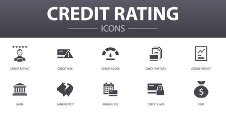 credit rating simple concept icons set. Contains such icons as Credit risk, Credit score, Bankruptcy, Annual Fee and more, can be used for web
