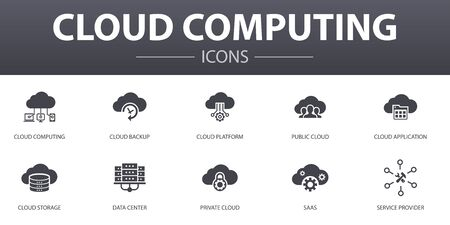 Cloud computing simple concept icons set. Contains such icons as Cloud Backup, data center, SaaS, Service provider and more, can be used for web