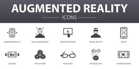 Augmented reality simple concept icons set. Contains such icons as Facial Recognition, AR app, AR game, Virtual Reality and more, can be used for web